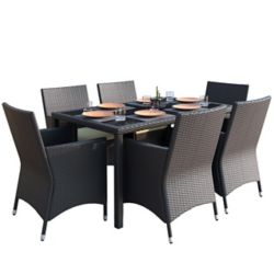 Corliving Sonax Park Terrace 7-Piece Patio Dining Set in Charcoal Black Weave