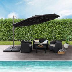 Corliving Parasol de patio deluxe excentré et resistant aux UV noir de 11,5 pieds