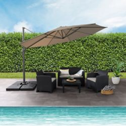 Corliving 11.5 ft. UV Resistant Deluxe Offset Sandy Brown Patio Umbrella