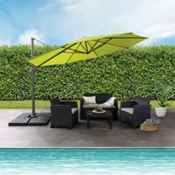 Corliving 11.5 ft. UV Resistant Deluxe Offset Lime Green Patio Umbrella