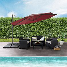 Deluxe Offset Patio Umbrella in Wine Red