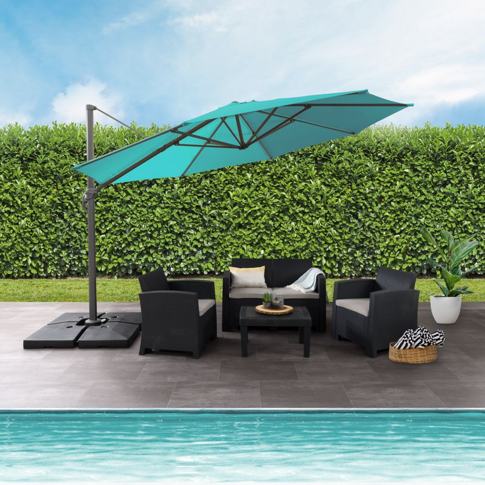 Hampton Bay 11 Ft Offset Patio Umbrella With Solar Led