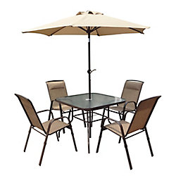 Corliving 5-Piece Patio Dining Set with Tilting Umbrella