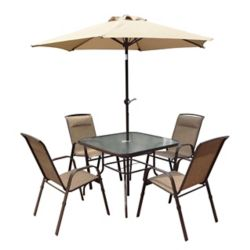 Corliving Ensemble repas avec parasol inclinable