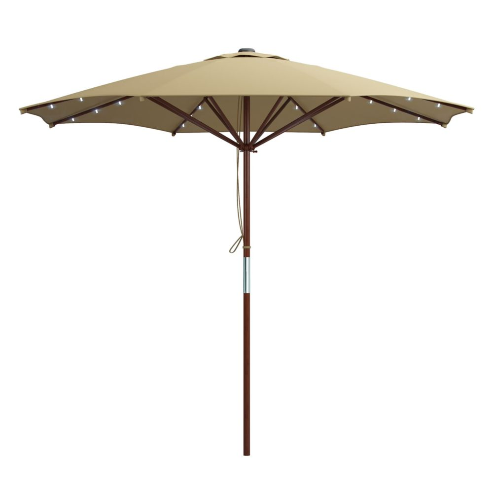 Corliving Patio Umbrella in Taupe with Solar Power LED Lights