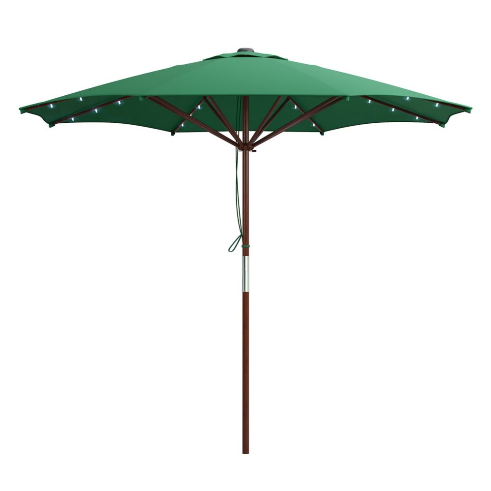 Corliving Patio Umbrella in Green with Solar Power LED Lights