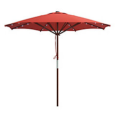 Patio Umbrella in Red with Solar Power LED Lights