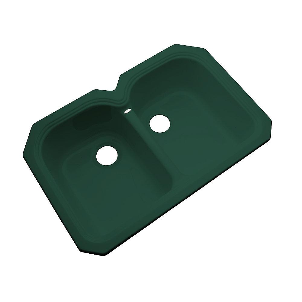 Hartford – Évier double 50/50 en acrylique vert forêt de 33po de largeur