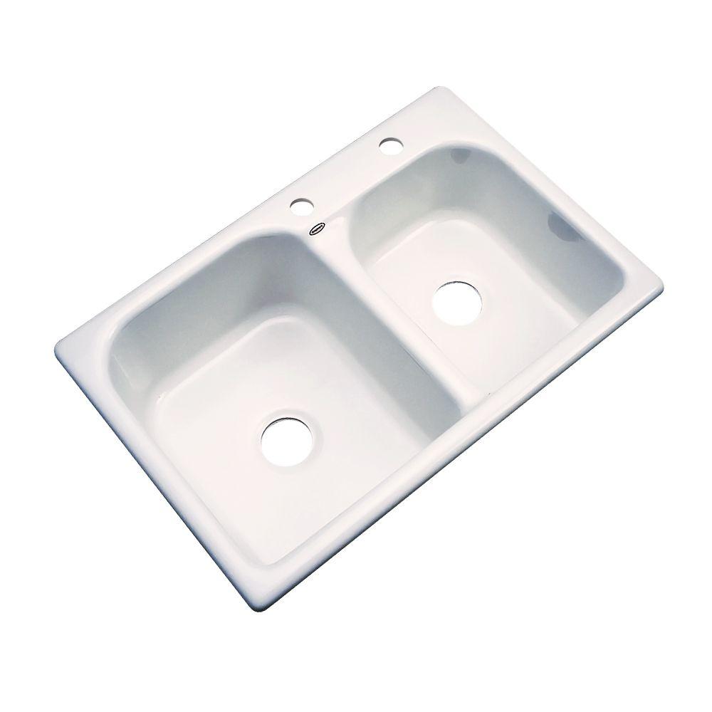 Thermocast Cambridge 33 Inch Double Bowl Bone Kitchen Sink