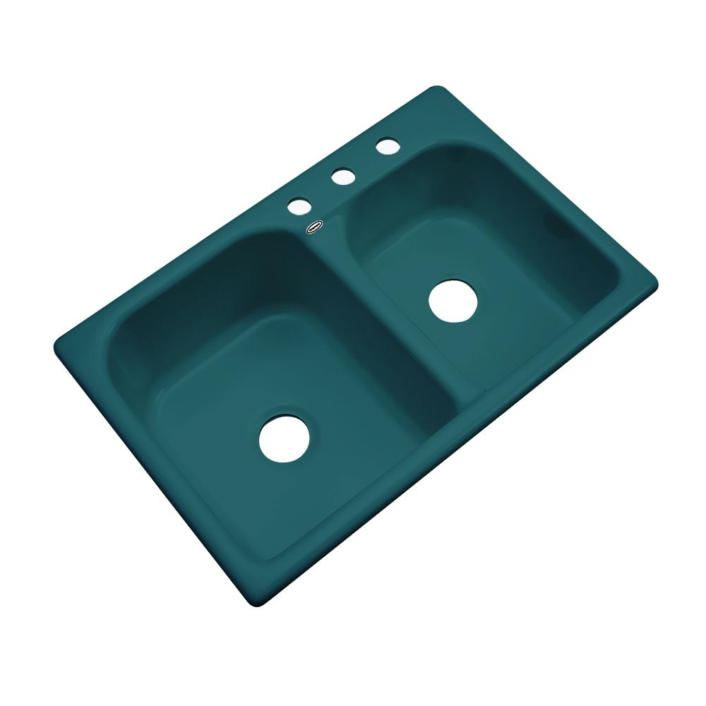 Cambridge 33 Inch Double Bowl Teal Kitchen Sink