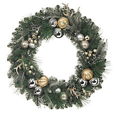 30-inch Mixed Pine Wreath with Berries, Cedar, Gold Balls & Antlers