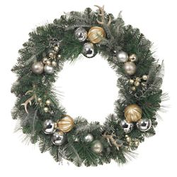 Home Accents Harvest 30-inch Mixed Pine Wreath with Berries, Cedar, Gold Balls & Antlers