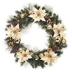 32-inch Gold Poinsettia Wreath with LED Lights