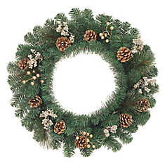 24-inch Mixed Pine Wreath with Gold Berries and Poinsettia