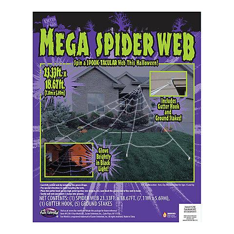 Toile d'araignée géante d'Halloween décorative pour la cour, 23 pi x 18 pi