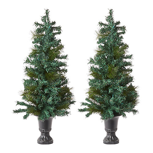 42-inch Pre-Lit Potted Christmas Tree (Set of 2)
