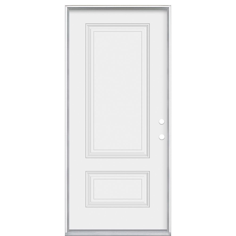 Masonite 72 Inch X 80 Inch X 6 9 16 Inch Antique Black 1 2 Lite Right Hand Entry Door With