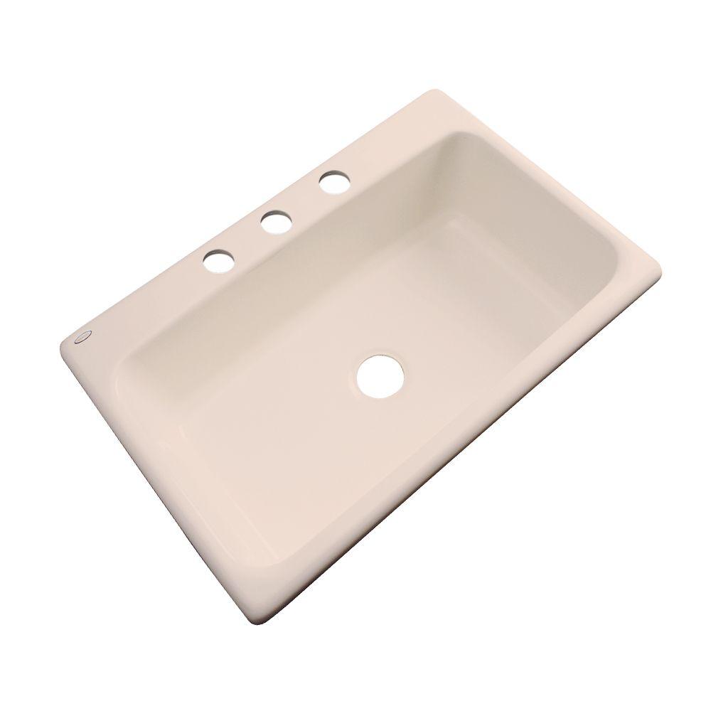 Thermocast Manhattan 33 Inch Single Bowl Peach Bisque Kitchen Sink