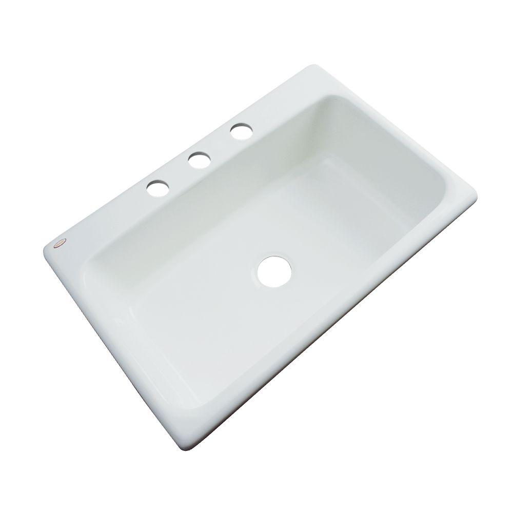Thermocast Manhattan 33 Inch Single Bowl Ice Gray Kitchen Sink