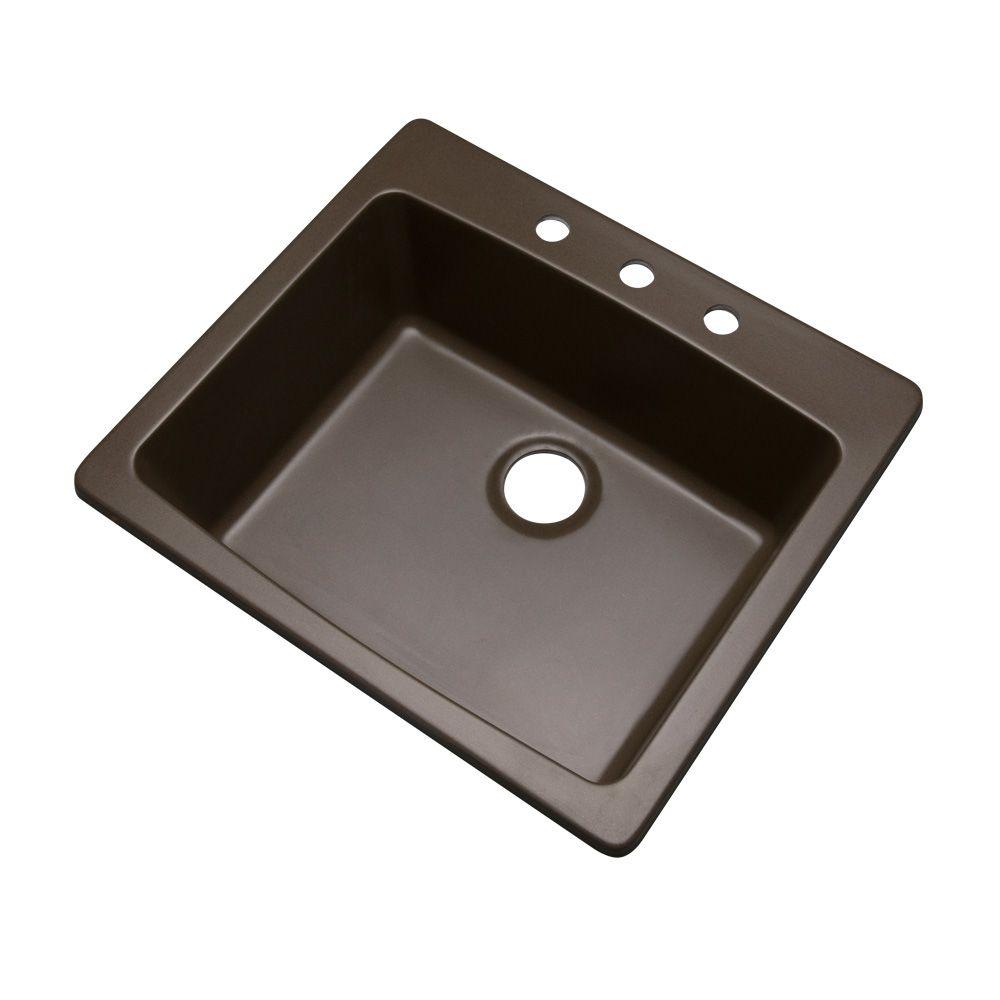 Mont Blanc Northbrook 25 inch Single  Bowl Mocha Kitchen Sink