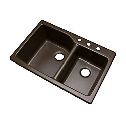 Mont Blanc Grande 33 inch Double Bowl Mocha Kitchen Sink