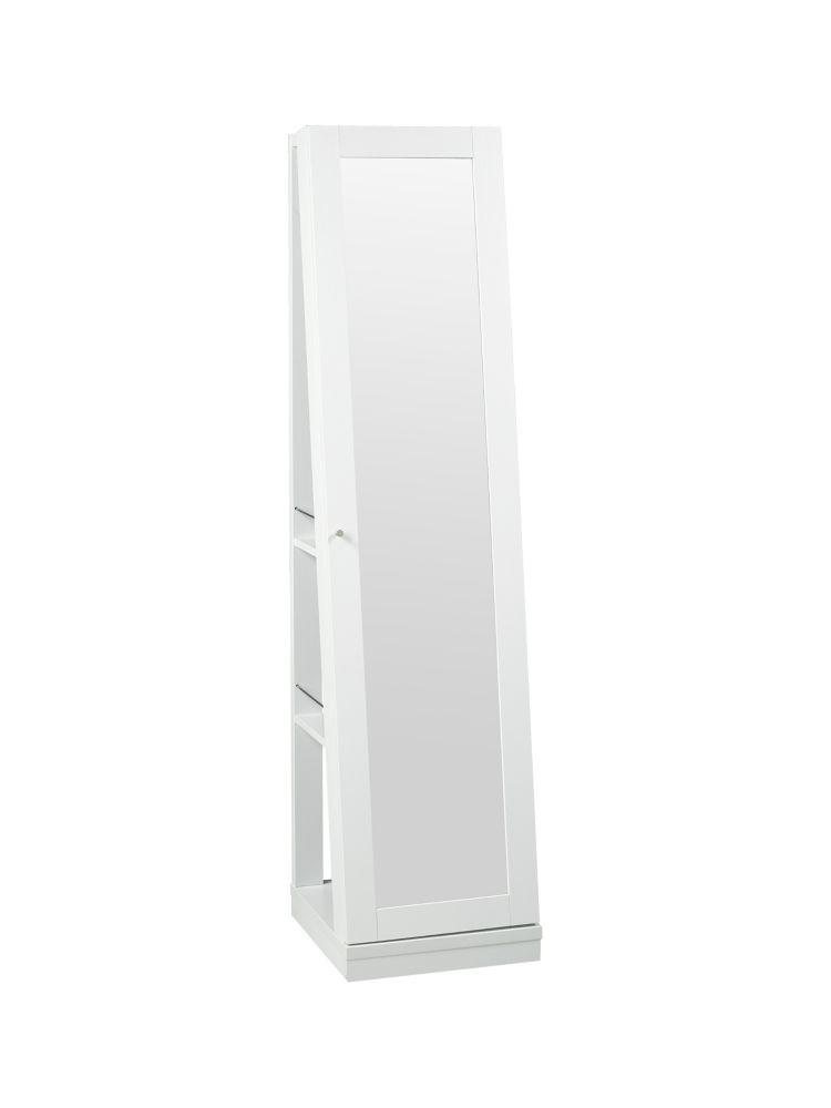 Brassex Inc. 3-Tier Jewellery Cabinet with Mirror & Castors, White