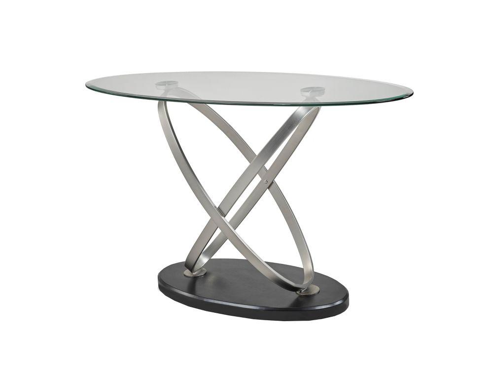 Brassex Inc. Chantal Sofa Table, Silver/Black
