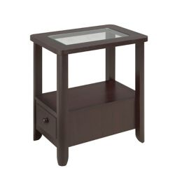 Brassex Inc. Telephone Stand with Storage Drawer, Dark Cherry