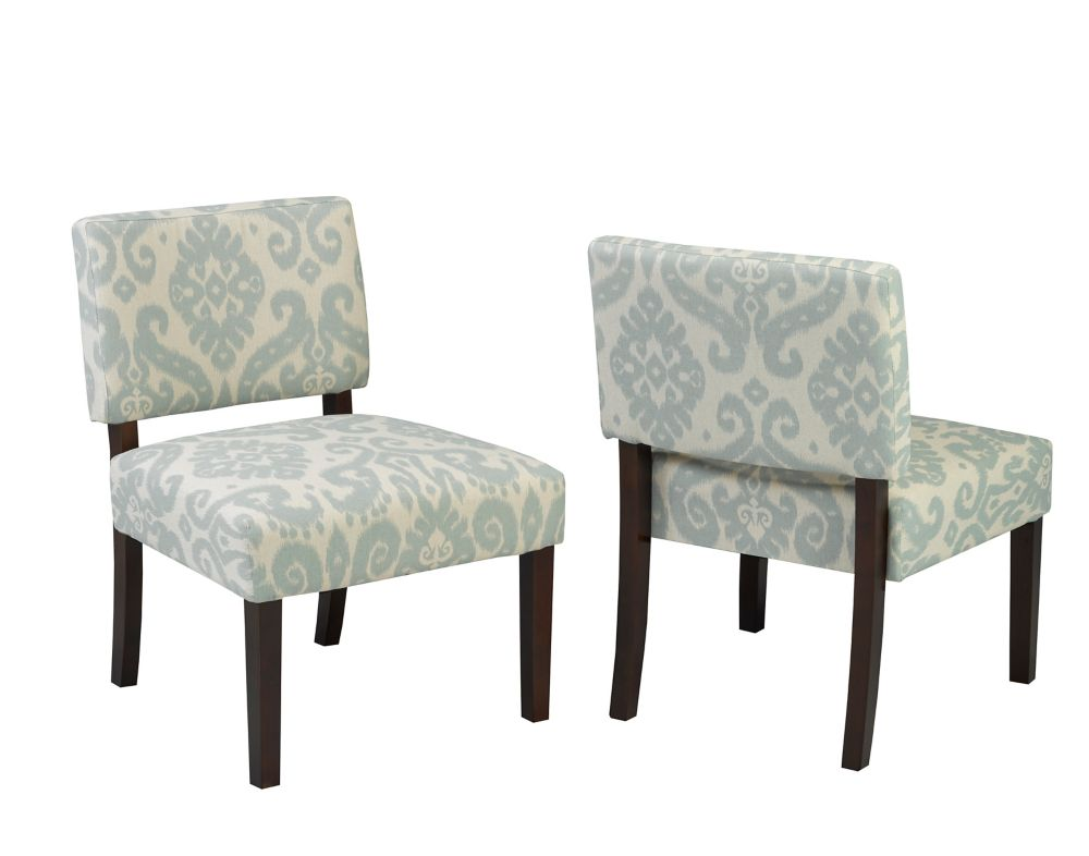 Brassex Inc. Accent Chair, Blue/Cream