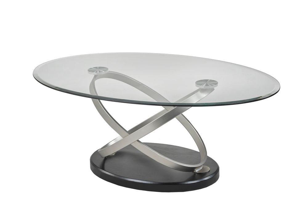 Brassex Inc. Chantal Coffee Table, Silver/Black