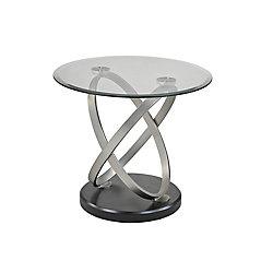 Brassex Inc. Chantal End Table, Silver/Black