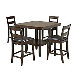 Brassex Inc. Maddison 5-Piece Pub Set, Walnut