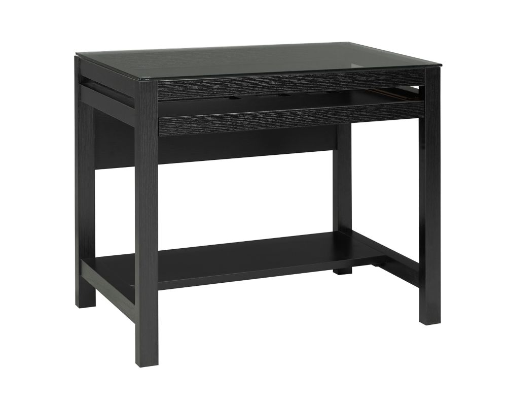 Brassex Inc. Computer Desk with Pull-Out Keyboard Tray, Black