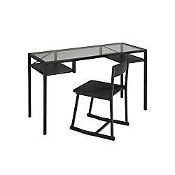 Brassex Inc. Office Desk and Chair Set, Black