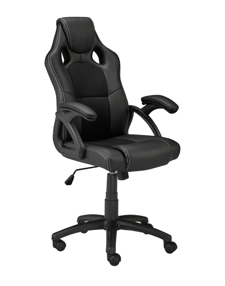 Brassex Inc. Office Chair with Gas Lift and Tilt Mechanism, Black