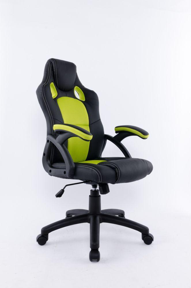 Brassex Inc. Office Chair with Gas Lift and Tilt Mechanism, Black & green