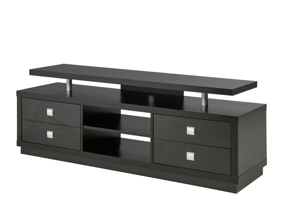 "Brassex Inc. 66"" TV Stand with Storage, Black"