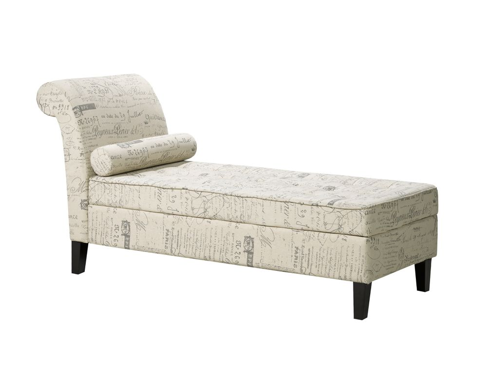 Brassex Inc. Venteian Chaise with Storage, Beige Scripted Fabric