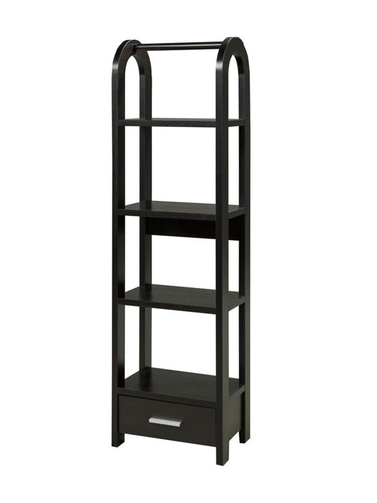 Brassex Inc. 4-Tier Display Shelf with Storage Drawer,  Black