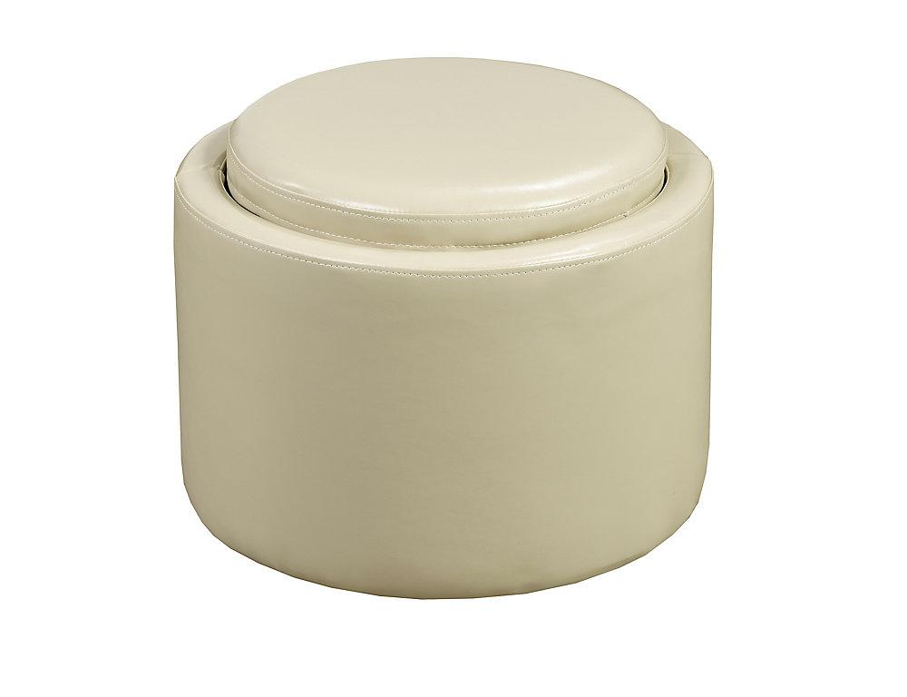 Storage Ottoman  with Reverse Tray, Cream