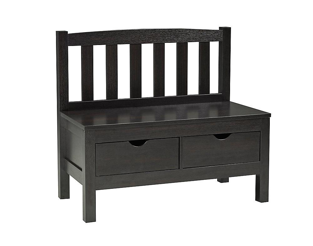 Accent Bench with 2 Storage Drawers, Dark Cherry
