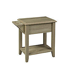 Brassex Inc. Telephone Stand with Storage Drawer and Cupholders, Dark Taupe