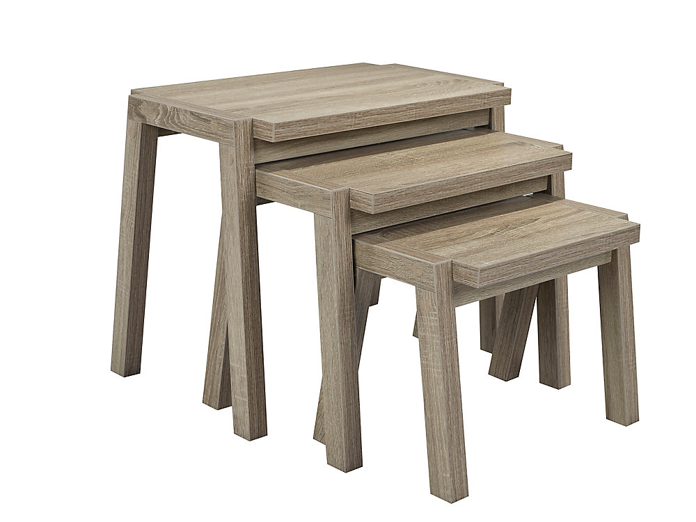 Tables gigognes Brassex, ensemble de 3 pièces, taupe foncée