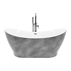 A&E Bath and Shower Polar 66 po Bain Autoportant en Acrylique Fini Argent Métalique