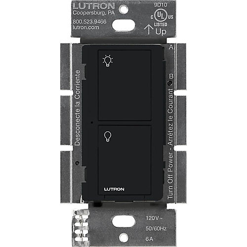 Caseta Wireless Smart Lighting Switch for All Bulb Types and Fans, Black