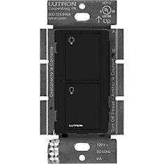Interrupteur intelligent Caseta pour tous les types d'ampoules et tous les ventilateurs, noir