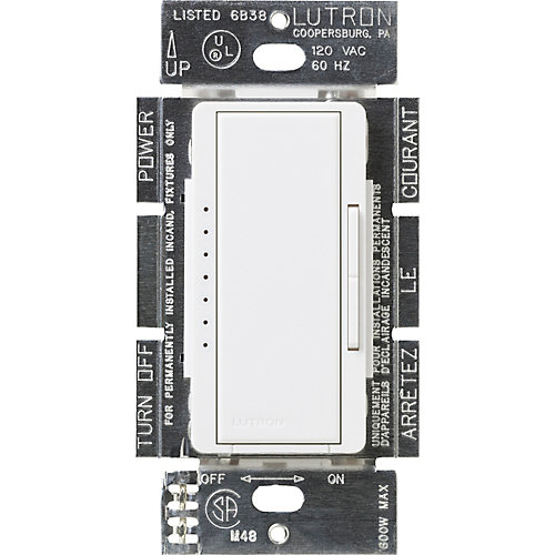 Maestro 600-Watt Multi-Location Electronic Low-Voltage Digital Dimmer, White