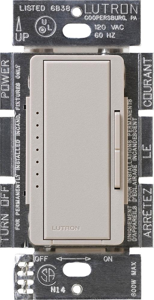 Maestro 150 Watts Unipolaire 3-Voies ou Gradateur Numérique Empl. Multiple AFC DEL, Taupe
