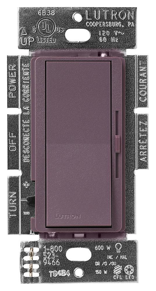 Gradateur Diva de Lutron Unipolaire/3-Voies pour LFC/DEL 250-Watts, Plum