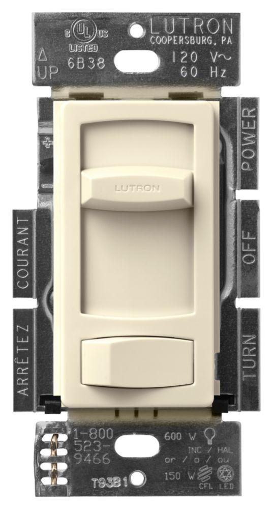 Lutron Skylark Contour 150-Watt Single Pole/3-Way LED/CFL Dimmer, Almond